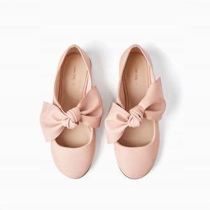 Zara girls pink flats with bows